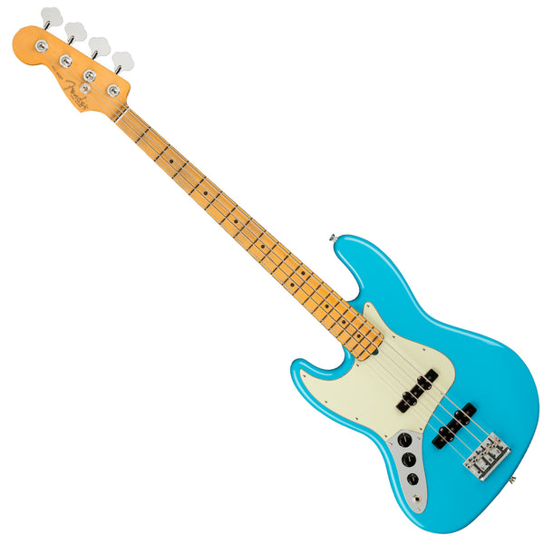 Fender Left Hand American Professional II Jazz Bass Guitar Maple Miami Blue w/Case - 0193982719