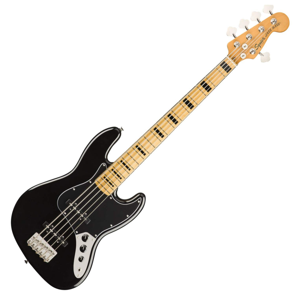 Squier Classic Vibe '70s Jazz Bass V 5 String Bass Guitar Maple in Black - 0374550506