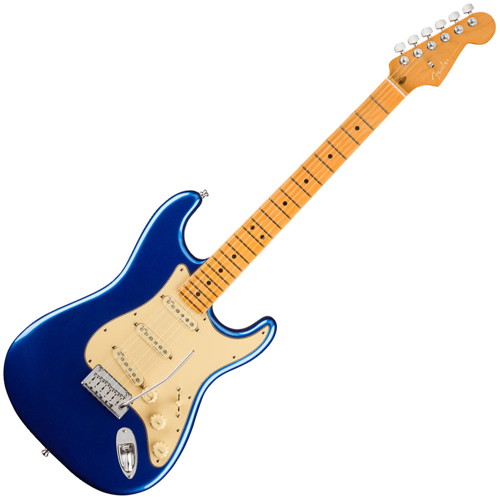 Fender American Ultra Stratocaster Electric Guitar Maple in Cobra Blue with Case - 118012795