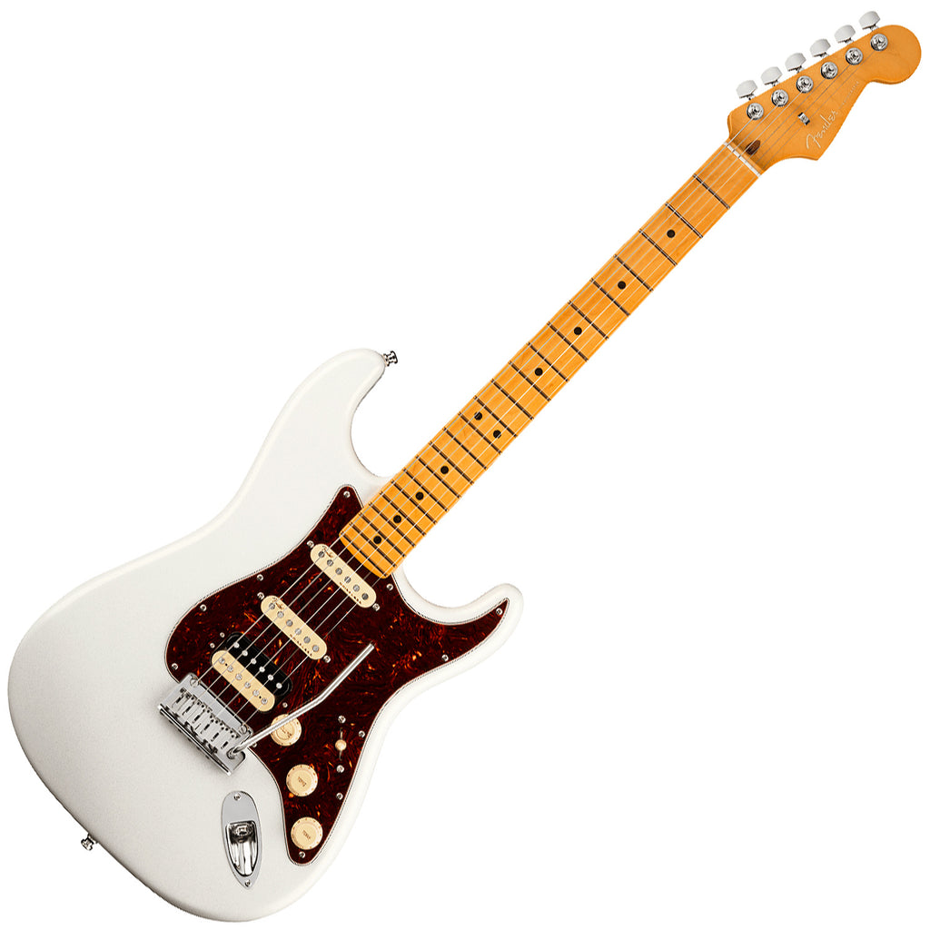 Fender American Ultra Stratocaster HSS Electric Guitar Maple in Arctic Pearl with Case - 118022781
