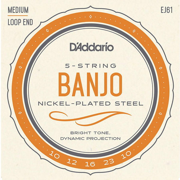 D'addario EJ61 5 String Medium Banjo Strings Nickel Wound