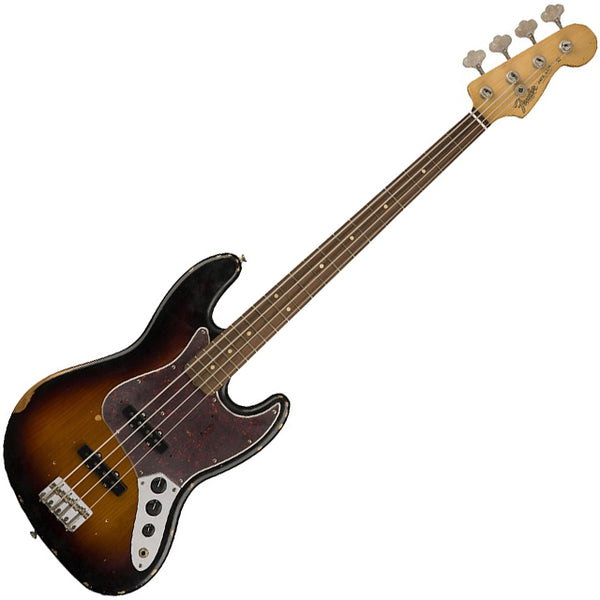 Fender 0131813300 Road Worn '60s Jazz Bass Guitar Pau Ferro in 3 Color Sunburst w/Bag