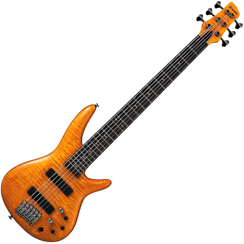 Ibanez GVB1006AM Gerald Veasley Signature 6 String Bass Guitar in Amber