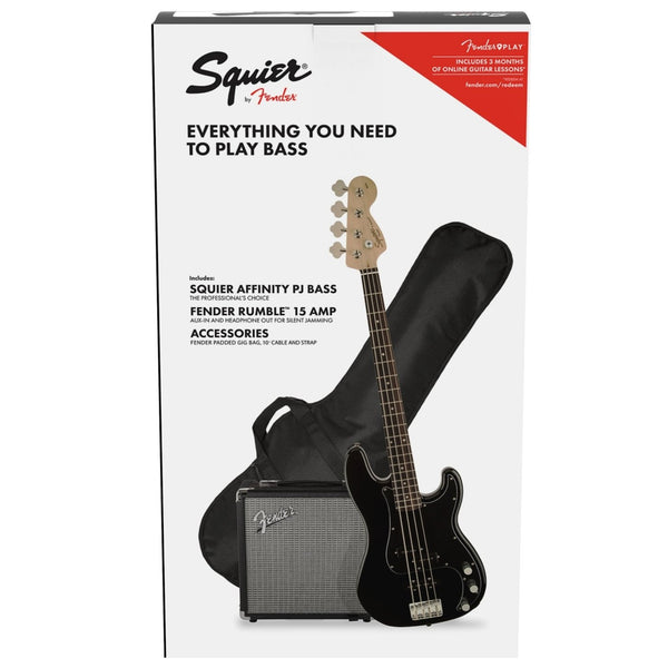 Squier Affinity PJ Bass Guitar Pack in Black Rumble 15 Amplifier and Accessories - 0371982006