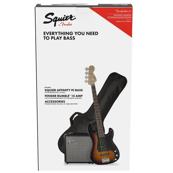 Squier Affinity PJ Bass Guitar Pack in Sunburst Rumble 15 Amplifier and Accessories - 0371982032