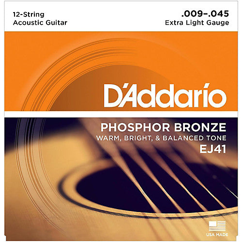 D'addario EJ41 12 String Acoustic Strings - Guitar Phosphor Bronze 009-045