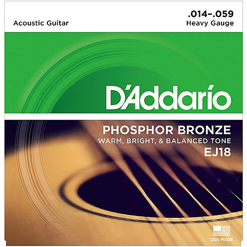 D'addario EJ18 Phosphor Bronze Wound Acoustic Strings - Guitar Heavy 014-059