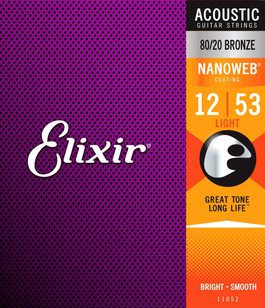 Elixir 11052 Light Nanoweb Bronze Acoustic Guitar Strings 12-53 80/20