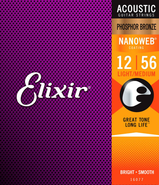 Elixir 16077 Light-Medium Nanoweb Acoustic Guitar Strings 12-56 Phosphor Bronze