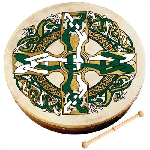 "Waltons 10AWAL1953 8"" Bodhran with Beater - Celtic Cross"