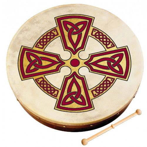 "Waltons 10AWAL2510 12"" Bodhran with Beater - Kilkenny Cross"
