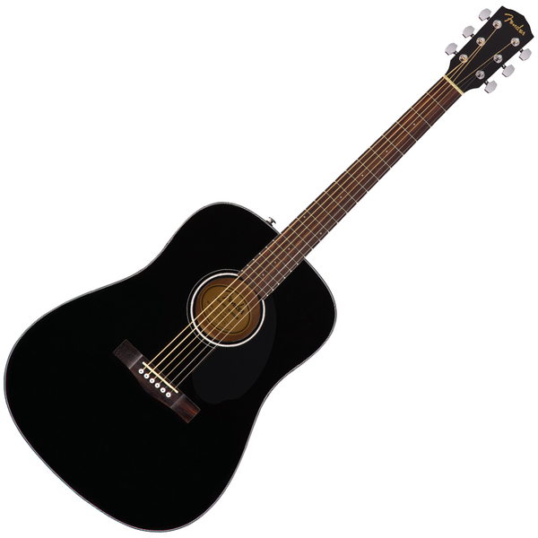 Fender CD60S Acoustic Guitar Solid Spruce Top Dreadnought in Black - 0970110006