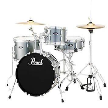 Pearl 4 Piece Roadshow Drum Kit in Charcoal Metallic with Stands and Cymbals - RS584CC706