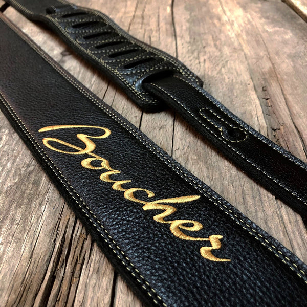 Boucher BOU17SSEBLK Logo Premium Leather Guitar Strap in Black