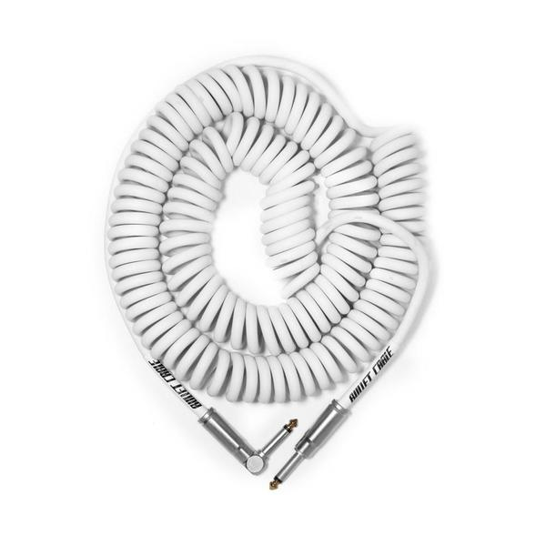 Bullet Cable BC30CCW 30' Coil Right Angle to Straight Angle Instrument Cable in White