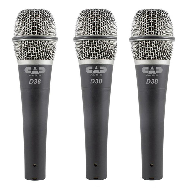 CAD 3 Pack of D38 Supercardioid Dynamic Microphones - D38X3