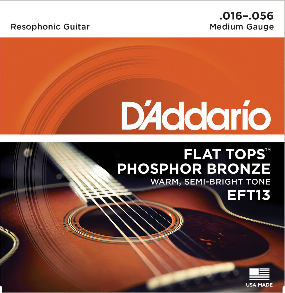 D'addario EFT13 Flat Tops Phosphor Bronze Acoustic Guitar Medium 016-056