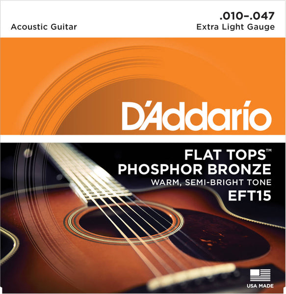D'addario EFT15 Flat Tops Phosphor Bronze Acoustic Strings - Guitar Extra Light 010-047