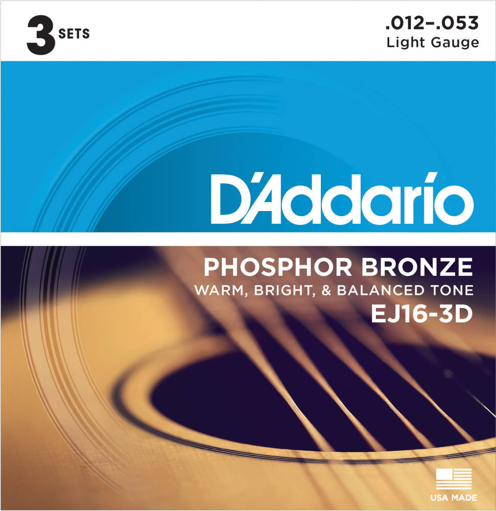 D'addario EJ163D Phosphor Bronze Wound Acoustic Strings - Guitar 012-053 | 3 Pack