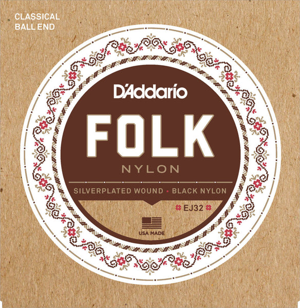 D'addario EJ32 Folk Nylon Ball End Silver Wound Acoustic Strings - Guitar