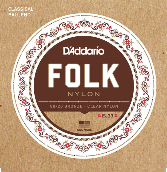 D'addario EJ33 Folk Nylon, Ball End, 80/20 Bronze Clear Nylon Trebles Acoustic Strings - Guitar