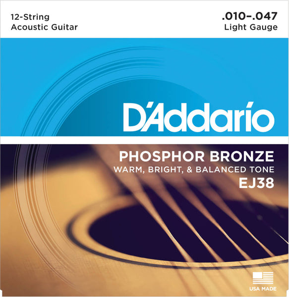 D'addario EJ38 12-String Phosphor Bronze Acoustic Strings - Guitar Light 010-047