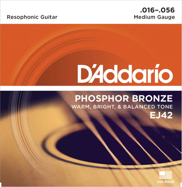 D'addario EJ42 Resophonic Acoustic Strings - Guitar 016-056