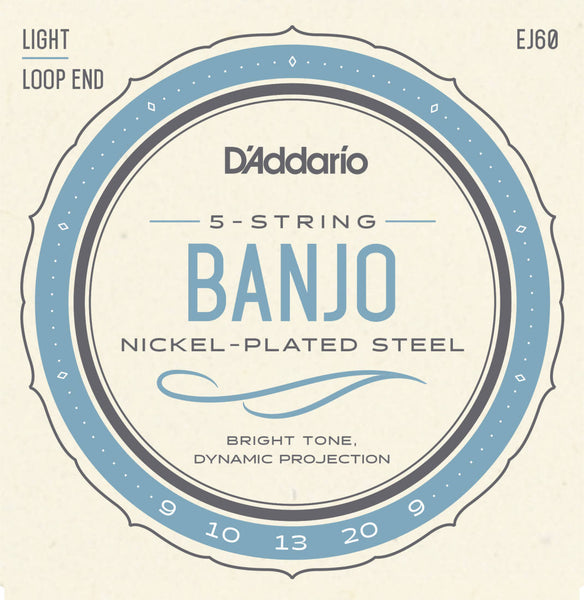 D'Addario EJ60 5 String Banjo Strings Nickel Wound 009,010,013,020,009