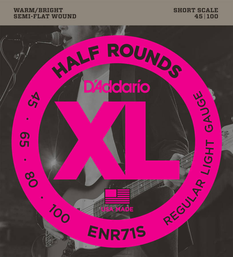 D'addario ENR71S Half-Round Short Scale Electric Bass Strings 045-100