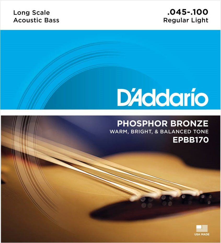 D'addario EPBB170 Acoustic Phosphor Bronze Long Scale Electric Bass Strings 045-100