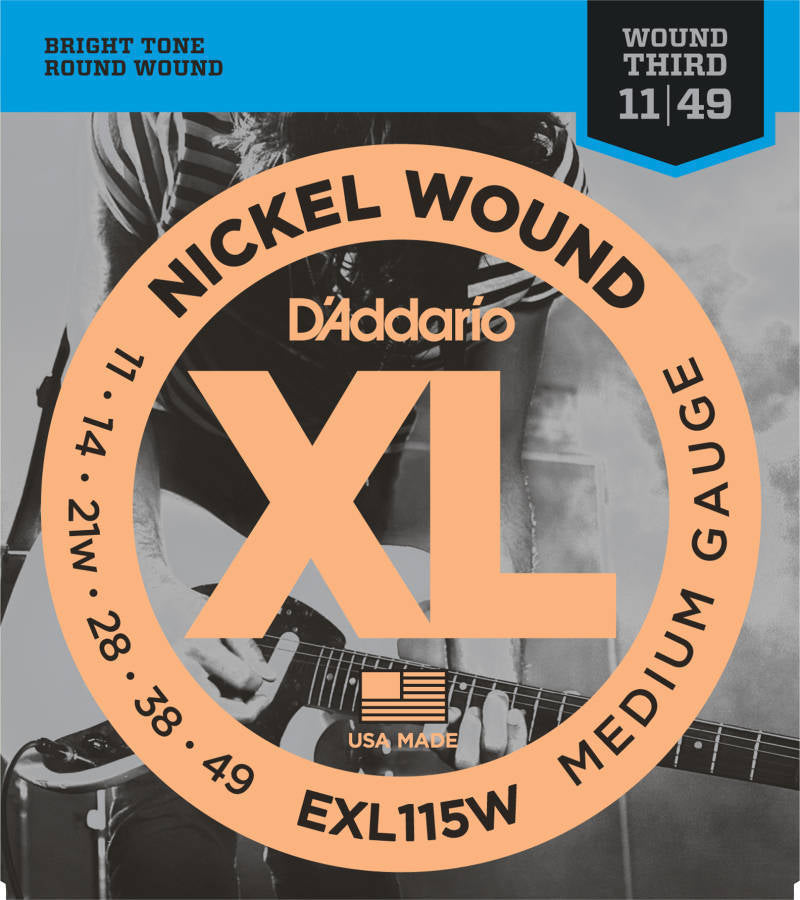 D'addario EXL115W Blues/Jazz Wound 3rd Electric Strings - Guitar 011-049