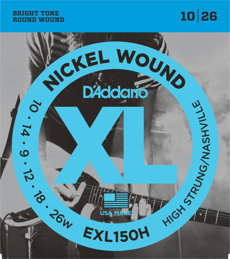 D'addario EXL150H Nashville Tuning Nickel Plated Steel Wound Electric Strings - Guitar 010-026