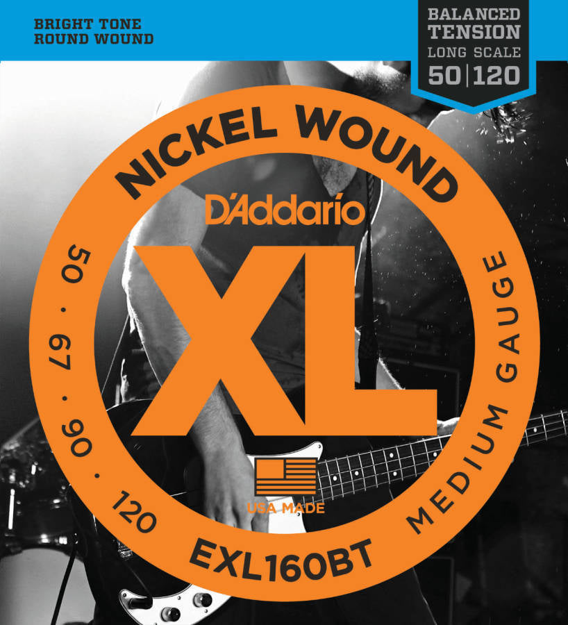 D'addario EXL160BT Bass Strings Balanced Tension Nickel Wound Long Scale 050-120