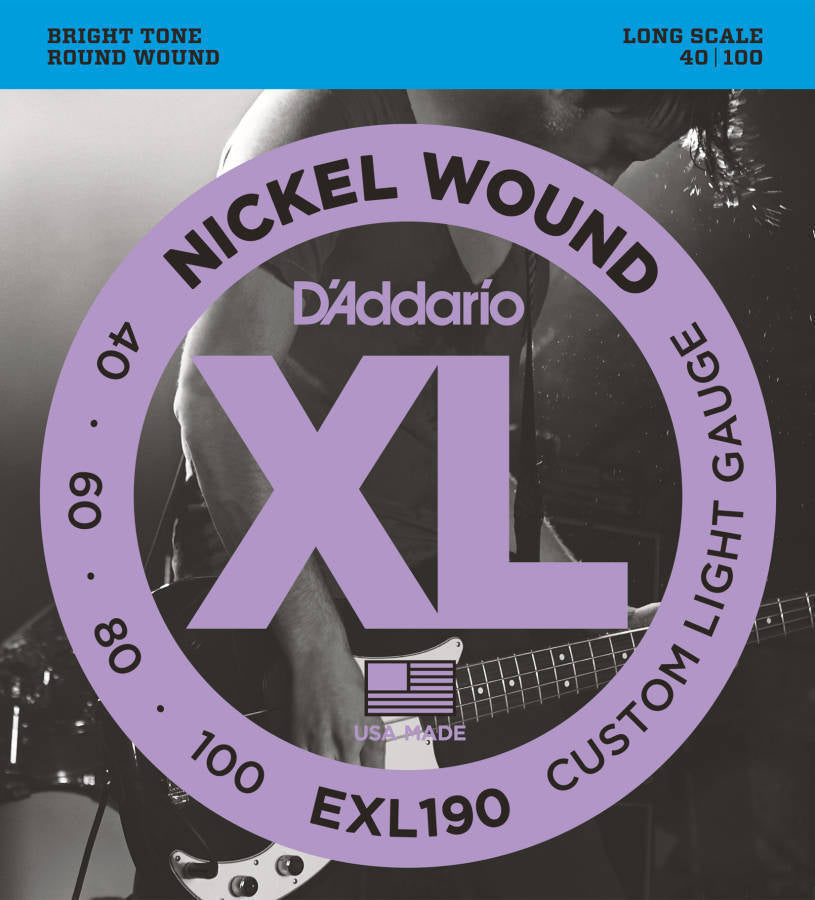 D'addario EXL190 Nickel Wound Long Scale Electric Bass Strings 040-100