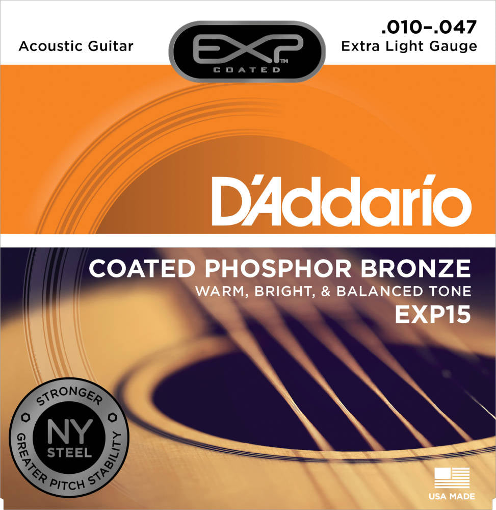 D'addario EXP Coated Phosphor Bronze Acoustic Strings Extra Light 010-047  - EXP15