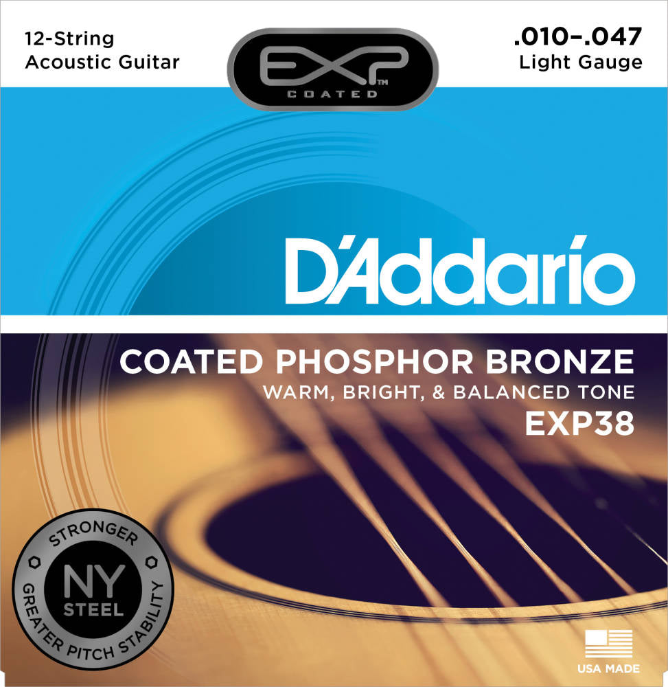 D'addario EXP38 12 String EXP Coated Phosphor Bronze Acoustic Guitar Strings Light