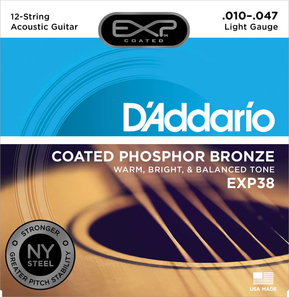 D'addario EXP38 12 String EXP Coated Phosphor Bronze Acoustic Strings - Guitar Light