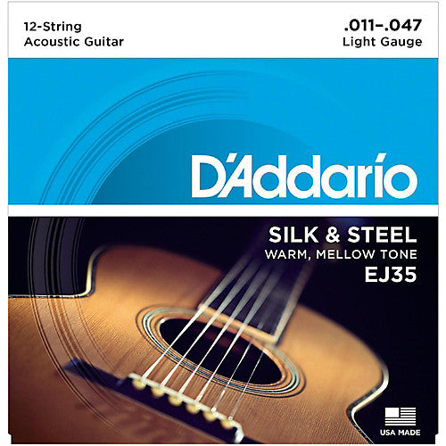 D'addario EJ35 Silk & Steel 12-String Folk Acoustic Guitar Strings 011-47
