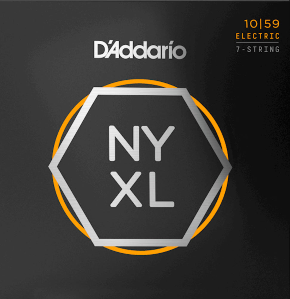 D'addario NYXL1059 7 String NYXL Electric Strings - Guitar Regular Light 010-059