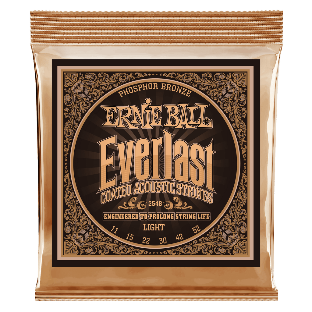 Ernie Ball 2548 Everlast Phosphor Bronze Coated Light Acoustic Guitar Strings 011-052