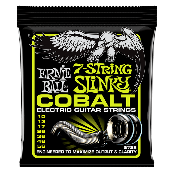 Ernie Ball 2728 Cobalt 7 String Regular Slinky Electric Strings - Guitar 010-056
