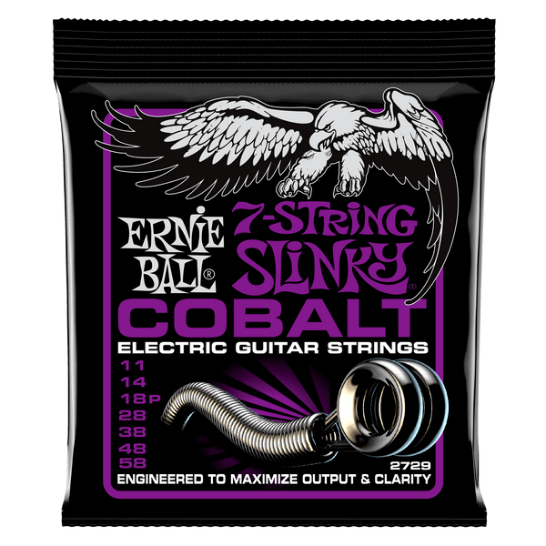 Ernie Ball 2729 Cobalt 7 String Power Slinky Electric Guitar Strings 011-058