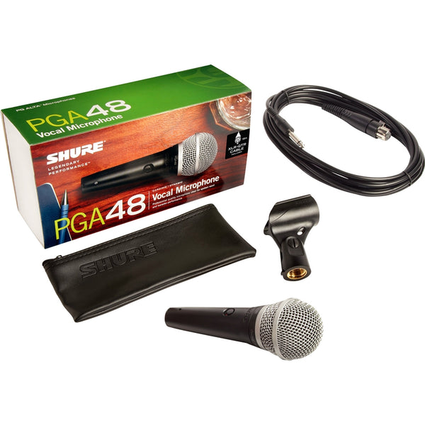 Shure PGA48QTR Cardioid Dynamic Vocal Microphone with Switch and 15' 1/4 Cable