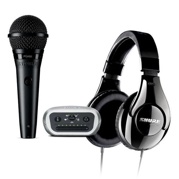 Shure P58CN240MVI PG58XLR Mic, SRH240A Headphones and MVi Audio Interface