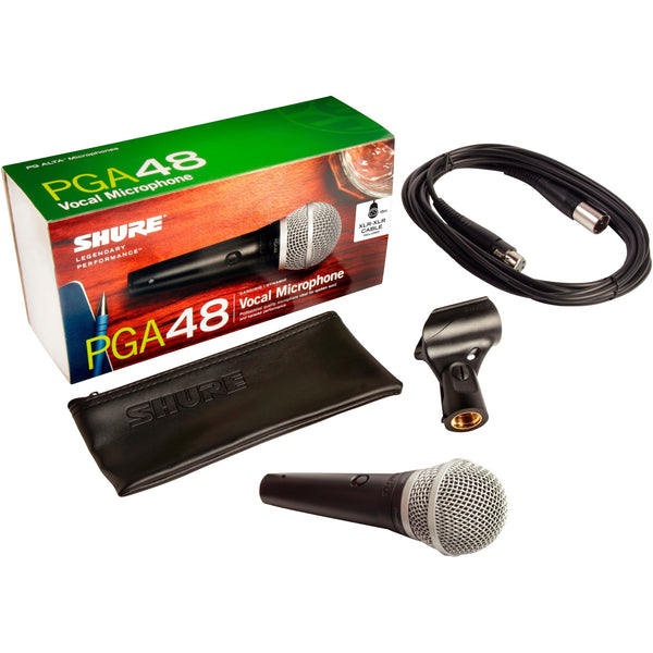 Shure PGA48XLR Cardioid Dynamic Vocal Microphone with Switch and 15' XLR Mic Cable