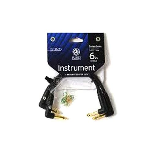 Planet Waves Pair of 6 Right Angle 1/4 Instrument Cables for Pedal Boards - PWPRA205