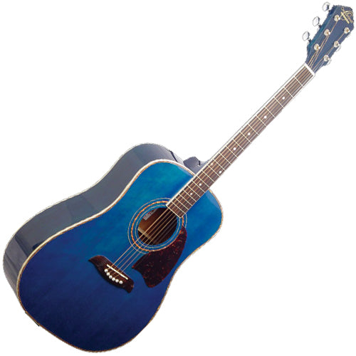 Oscar Schmidt OG2TBL Dreadnought Acoustic Guitar in Transparent Blue