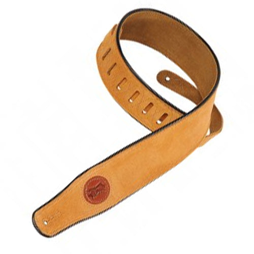 "Levys MSS3HNY 2-12"" Signature Series Suede Guitar Strap w/ Piping in Honey"
