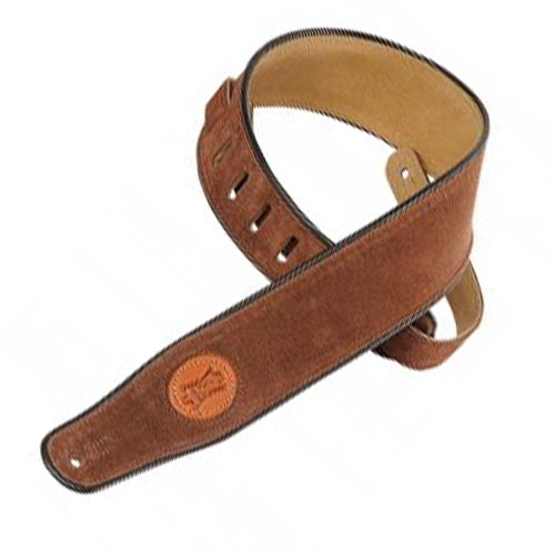 "Levys MSS3BRN 2-12"" Signature Series Suede Guitar Strap w/ Piping in Brown"