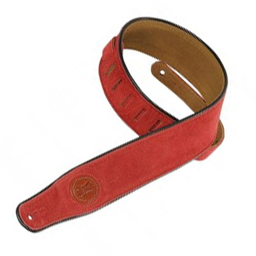 "Levys MSS3RED 2-12"" Signature Series Suede Guitar Strap w/ Piping in Red"